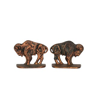 Vintage Bison Buffalo Bookends - a Pair For Sale