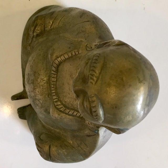 Mid 20th Century Brass Buddha Figurine For Sale - Image 5 of 7