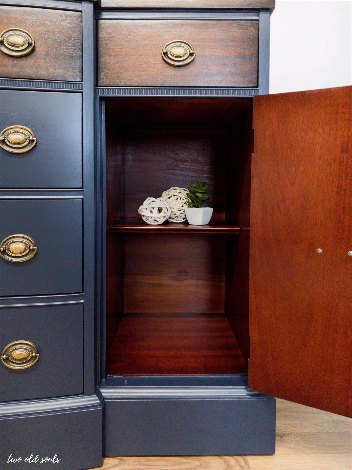 Navy Blue Vintage Mahogany 6 Drawer Sideboard Buffet Chairish