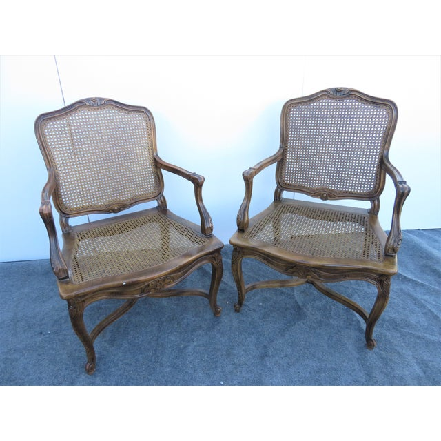 Mid 20th Century Mid 20th Century Louis XV Oak Caned Open Arm Chairs - a Pair For Sale - Image 5 of 7