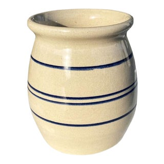 Small Blue Ceramic Crock Vase or Planter by Kenneth Wingo for Marshall Pottery For Sale