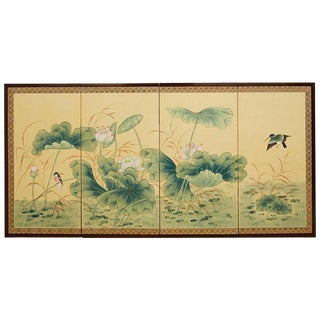 Asian Four Panel Screen of Flora and Fauna For Sale