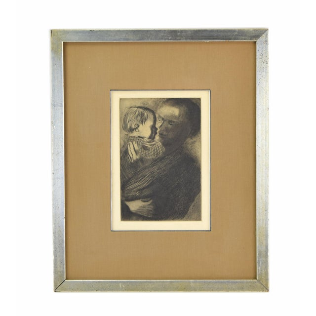 Black 1960s Expressionist Kathe Kollwitz Etching of Mother and Child - Mutter Mit Kind For Sale - Image 8 of 8