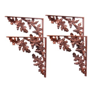 1990s Cabin Leaf Brackets - Set of 4 For Sale