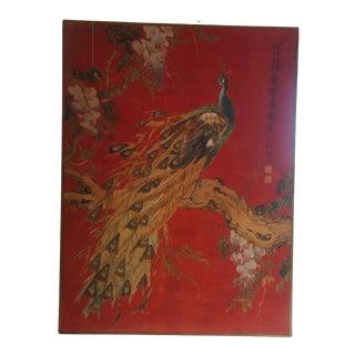 Vintage Large Batik Red Peacock on Flowering Branch Painting Framed on Board For Sale