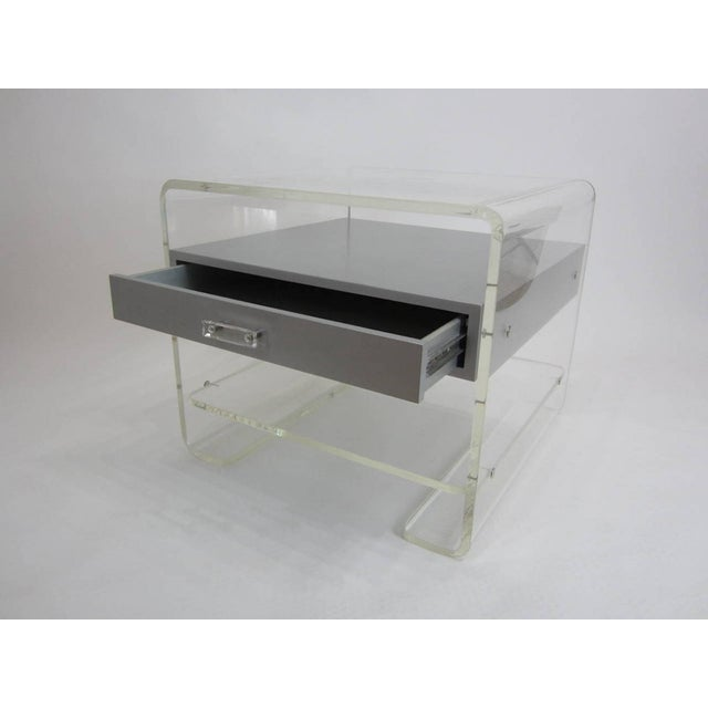 Lucite Side Table with Silver Metallic Drawer - Image 3 of 6