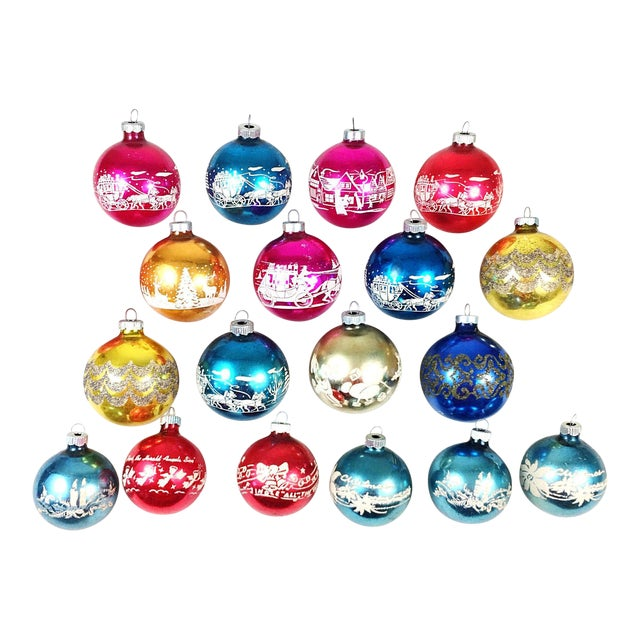 vintage shiny brite stencil christmas ornaments set of 19 - Vintage Shiny Brite Christmas Ornaments