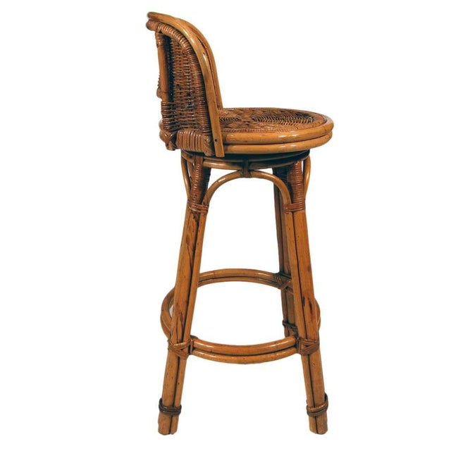 Paul Frankl Rattan Bar Stool Pair With Woven Wicker Seats, Set of Two For Sale - Image 4 of 5