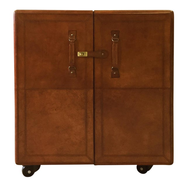 Rectangular Leather Bar Box With Moving Wheels For Sale