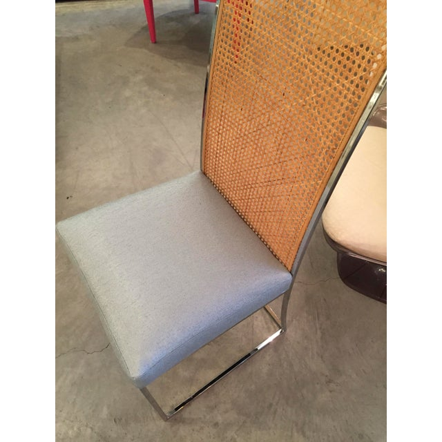 Mid Century Modern S/ 8 Milo Baughman Newly Upholstered Chrome & Cane Back Dining Chairs - Image 6 of 10