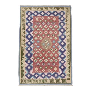 "1960s Colorful Dhurrie Hand Woven Flatweave Rug - 5'10"" X 8'10"" For Sale"