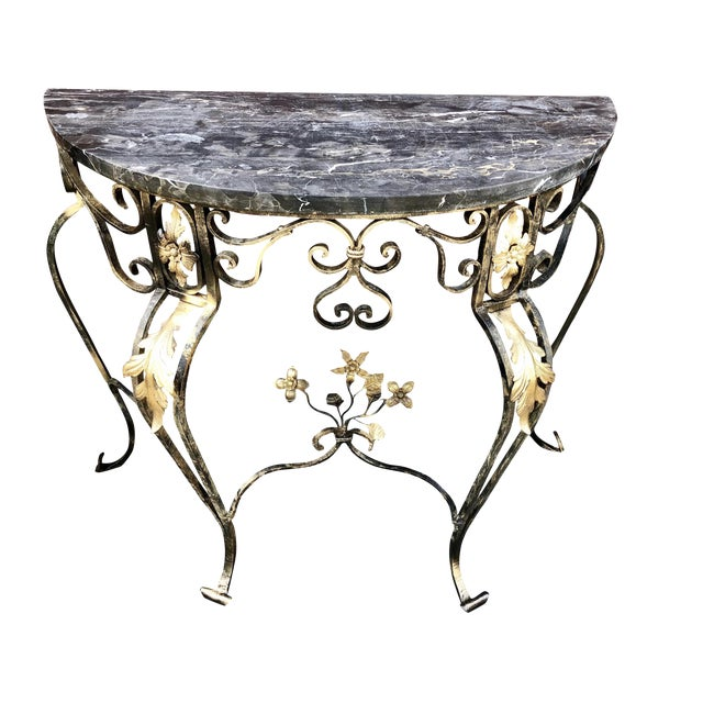 1950s Italian Gilt Wrought Iron and Marble Demi Lune Table For Sale