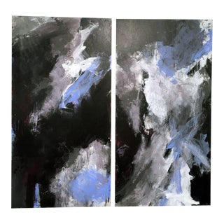 Stephanie Cate Abstract Europa 24 & 25 Diptych Acrylic Paintings on Wood Panel