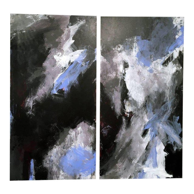 Stephanie Cate Abstract Europa 24 & 25 Diptych Acrylic Paintings on Wood Panel For Sale