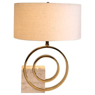 Italian Travertine and Brass Table Lamp by Giovanni Banci For Sale