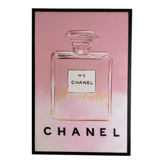 Framed Chanel Perfume Bottle Painting For Sale