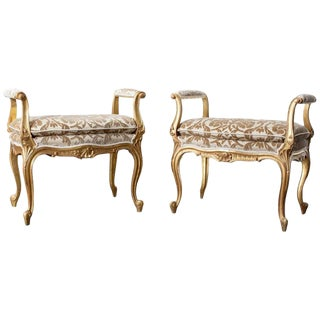 Pair of French Louis XV Style Giltwood Vanity Benches For Sale