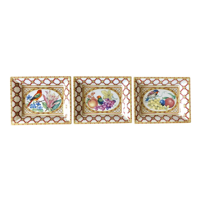 Vintage Italian Bird Fruit Plates- Set of 3 For Sale