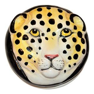 Vintage Italian Leopard Face Trinket Box For Sale