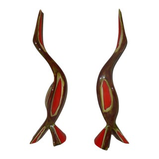 Mid Century Ceramic Bird Retro Sculpture 60s - a Pair For Sale