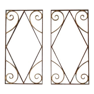Antique Brass Architecural Panels - A Pair For Sale