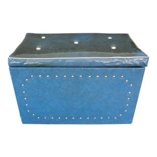 Vintage Mid Century Blue & White Vinyl Bound Blanket Chest For Sale