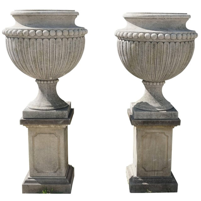 Early 20th Century Early 20th Century Italian Garden Limestone Urns - a Pair For Sale - Image 5 of 5