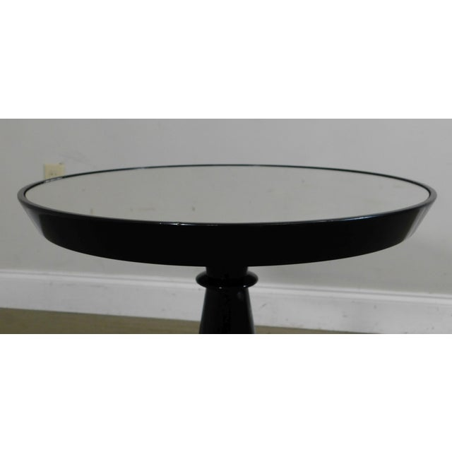 Modern Black Lacquer Round Mirror Top Pedestal Side Table For Sale - Image 12 of 13
