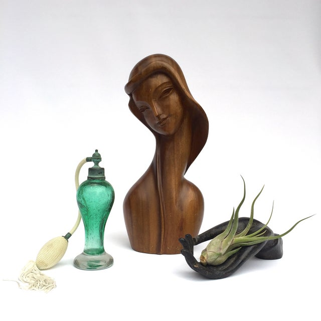Brown Art Deco Style Hand Carved Wooden Female Bust For Sale - Image 8 of 8