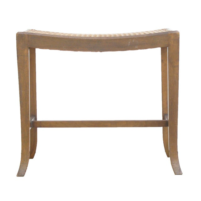 Lovely vintage English caned stool with wonderful lines. A versatile and handsome addition to any entry, study, dressing...
