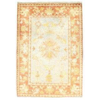 """Hand Knotted Tan & Blue Oushak Rug - 2'2' X 3'0"""" For Sale"""