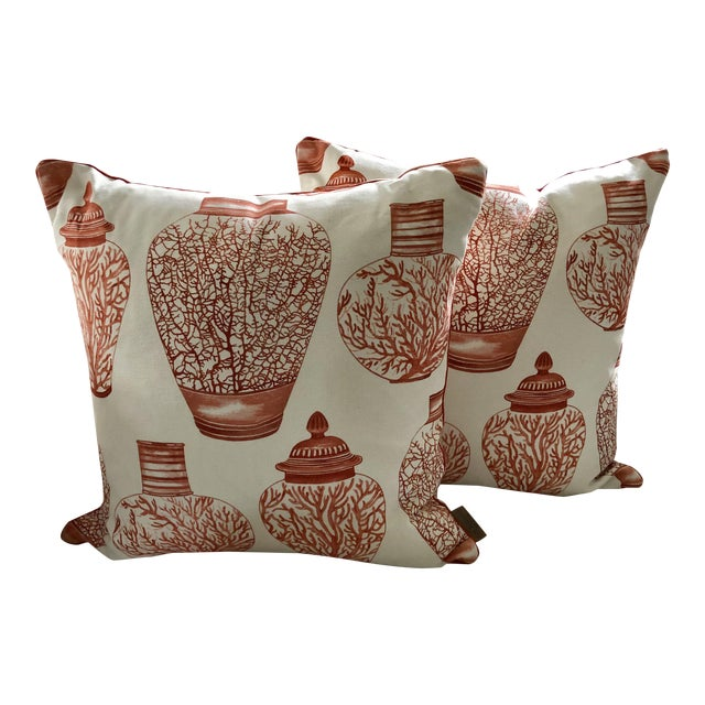 Ginger Jars & Corals Pillows, Pair For Sale