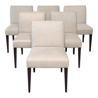 Cream Fabric Contemporary Dining Chairs - Set of 6 For Sale