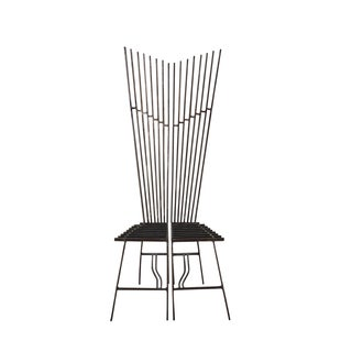 Studio Made Steel High Back Chairs - A Pair For Sale
