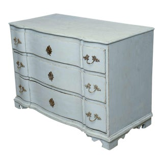 Antique Swedish Period Baroque Blue Painted Chest. Late 18th Century For Sale
