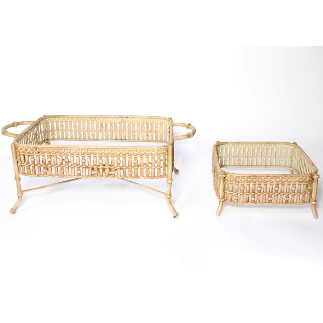 Vintage Faux Bamboo Chafing Dishes - Set of 2 For Sale In Los Angeles - Image 6 of 6