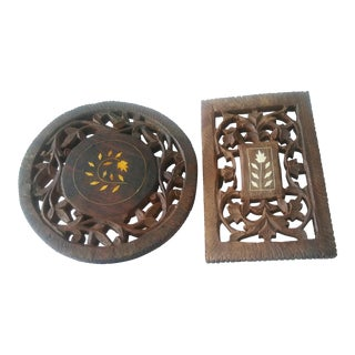 Vintage Carved Wood India Trivets - A Pair