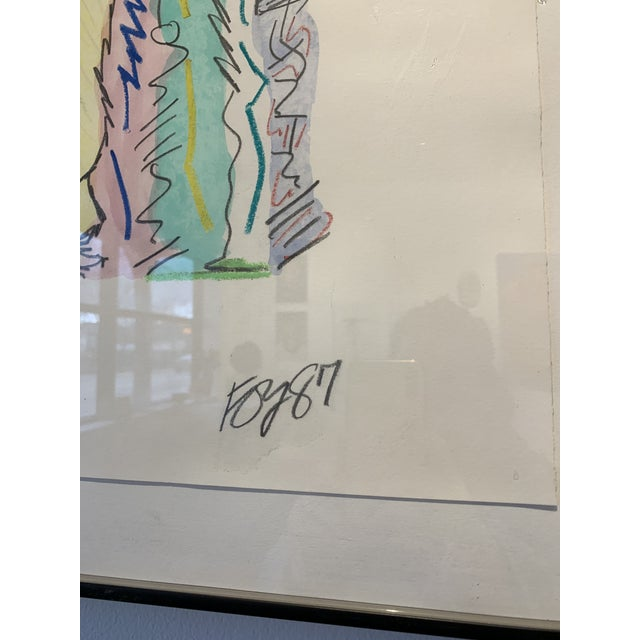 1980s Postmodern Mixed Media Drawing For Sale In Chicago - Image 6 of 8