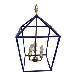 Contemporary Blue Dana Gibson 3-Light Lantern For Sale