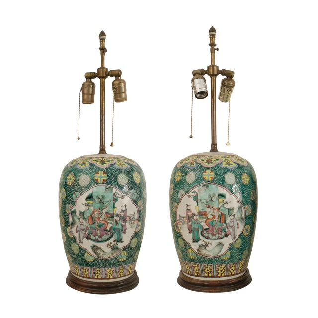 Pair Of Asian Chinese Style Ginger Jar Shaped Green Porcelain Table Lamps For