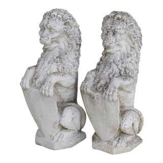 1950s Estate Concrete Lion Garden Statues- A Pair