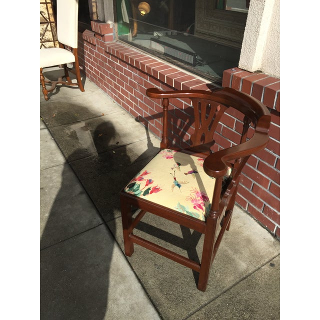 Georgian Style Needlepoint Upholstery Mahogany Corner Chair - Image 3 of 9
