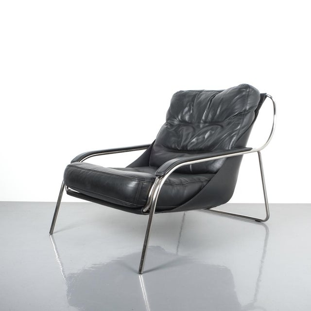 Mid-Century Modern Marco Zanuso Maggiolina Sling Black Leather Chair by Zanotta, 1947 For Sale - Image 3 of 11