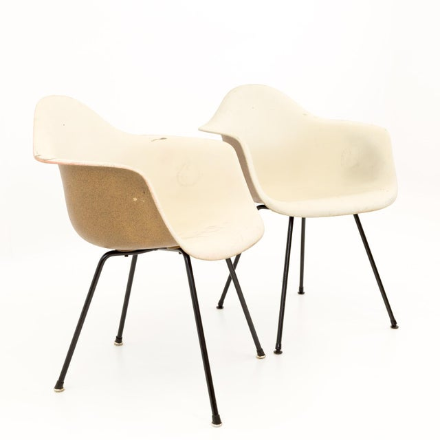 Eames for Herman Miller molded plastic x-base shell chairs. Great vintage condition