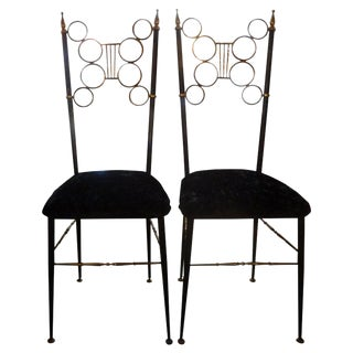 1960s Vintage Italian Brass and Iron Chiavari Chairs- a Pair For Sale