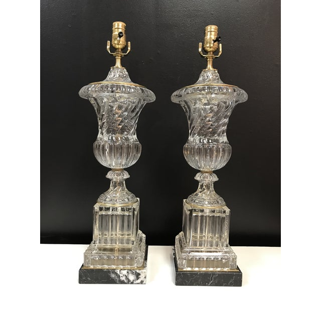 Baccarat Style Paul Hanson Hollywood Regency Glass Crystal Bronze Spiral Urn Table Lamps on Marble Base - a Pair For Sale - Image 11 of 11