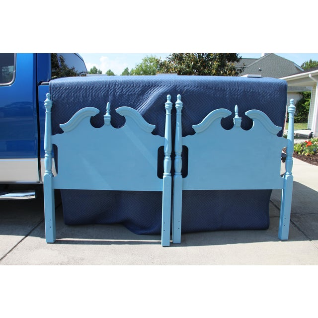 Hollywood Regency Beach Blue Twin Headboards - a Pair Will Paint Any Color for Additional Fee. For Sale - Image 6 of 6