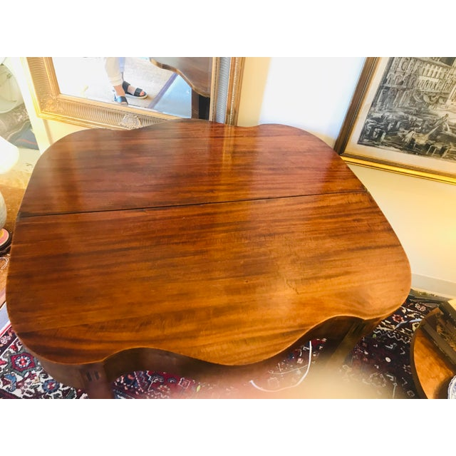 2000 - 2009 Mahogany Bridge Table With Scalloped Drop Down/Flip Top For Sale - Image 5 of 8
