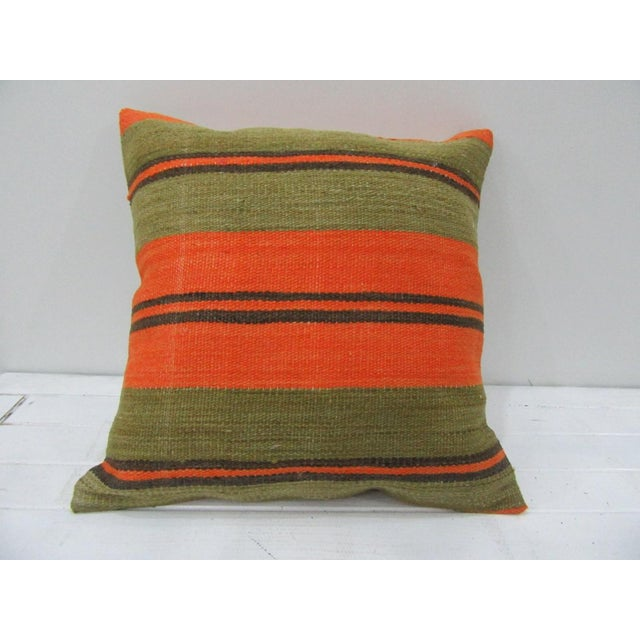 Vintage Orange and Green Striped Turkish Kilim Pillow Cover For Sale - Image 4 of 4