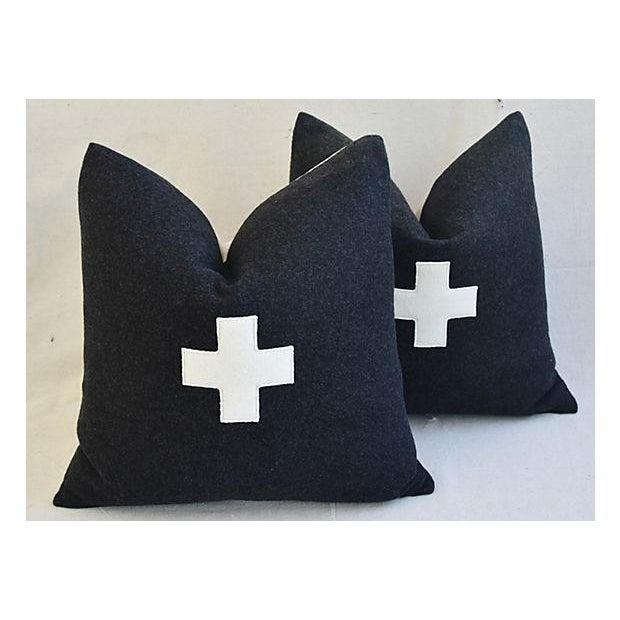 "22"" Custom Tailored Charcoal Appliqué Cross Wool Feather/Down Pillows - a Pair For Sale - Image 11 of 12"